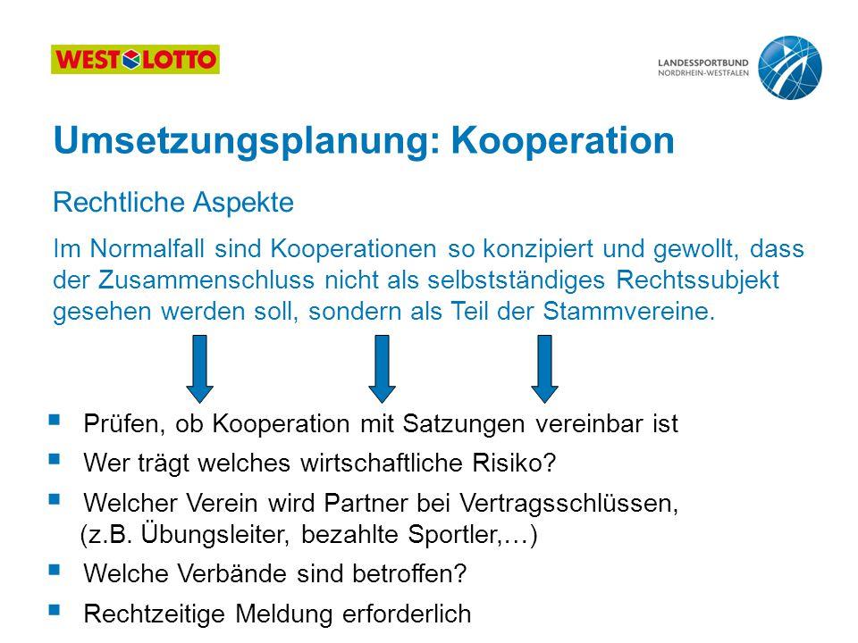 22 | Kooperation, Fusion, Abspaltung, 25.08.2011 Umsetzungsplanung: Kooperation Im Normalfall sind Kooperationen so konzipiert und gewollt, dass der Z