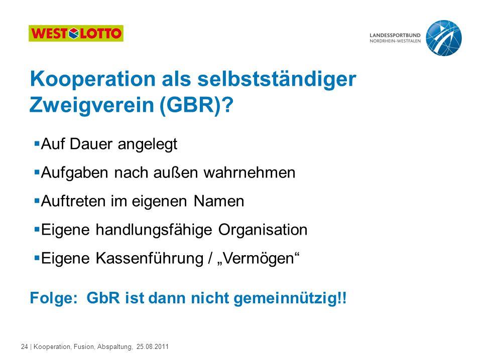 24 | Kooperation, Fusion, Abspaltung, 25.08.2011 Kooperation als selbstständiger Zweigverein (GBR)?  Auf Dauer angelegt  Aufgaben nach außen wahrneh