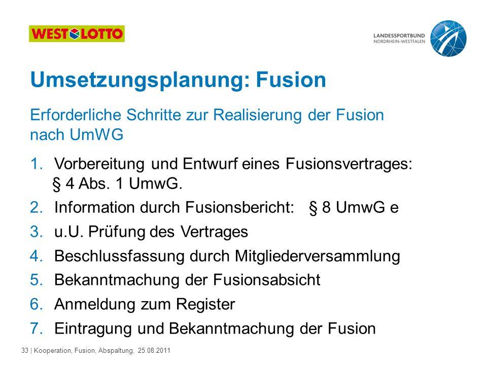 33 | Kooperation, Fusion, Abspaltung, 25.08.2011 Umsetzungsplanung: Fusion 1.Vorbereitung und Entwurf eines Fusionsvertrages: § 4 Abs. 1 UmwG. 2.Infor
