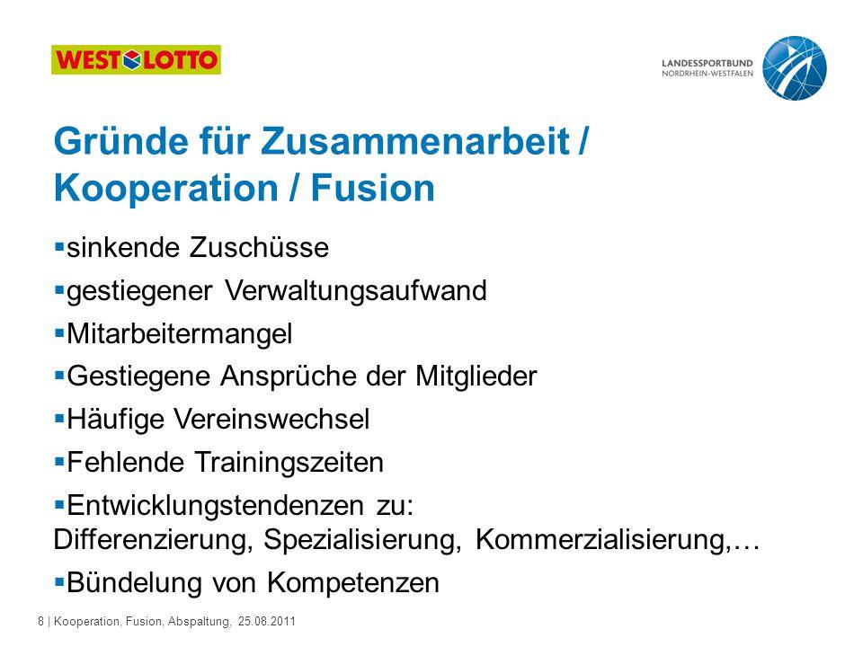 8 | Kooperation, Fusion, Abspaltung, 25.08.2011 Gründe für Zusammenarbeit / Kooperation / Fusion  sinkende Zuschüsse  gestiegener Verwaltungsaufwand