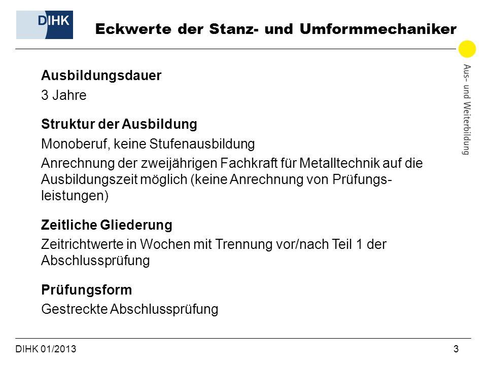 DIHK 01/2013 3 Ausbildungsdauer 3 Jahre Struktur der Ausbildung Monoberuf, keine Stufenausbildung Anrechnung der zweijährigen Fachkraft für Metalltech