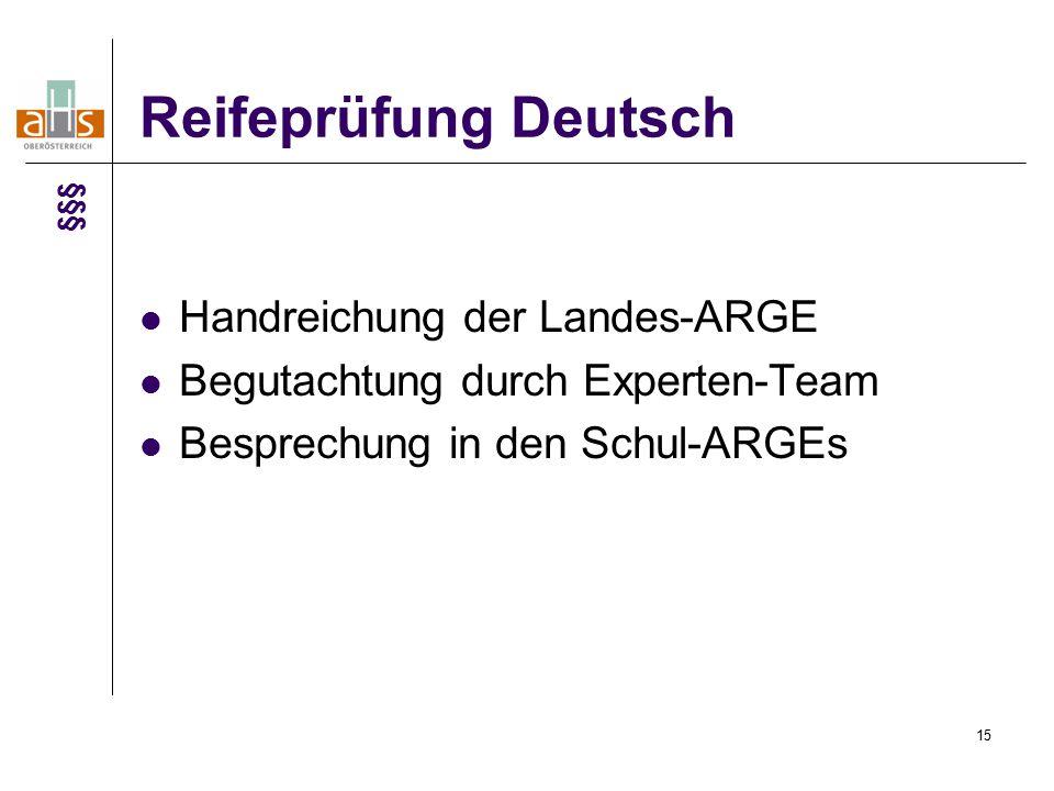 15 Reifeprüfung Deutsch Handreichung der Landes-ARGE Begutachtung durch Experten-Team Besprechung in den Schul-ARGEs §§§