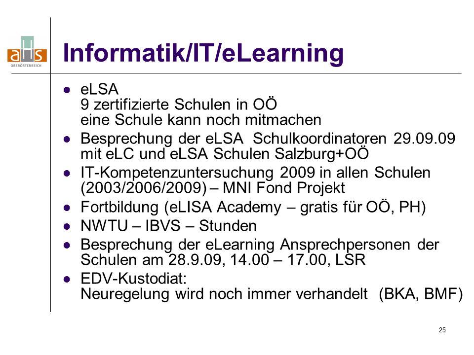 25 Informatik/IT/eLearning eLSA 9 zertifizierte Schulen in OÖ eine Schule kann noch mitmachen Besprechung der eLSA Schulkoordinatoren 29.09.09 mit eLC und eLSA Schulen Salzburg+OÖ IT-Kompetenzuntersuchung 2009 in allen Schulen (2003/2006/2009) – MNI Fond Projekt Fortbildung (eLISA Academy – gratis für OÖ, PH) NWTU – IBVS – Stunden Besprechung der eLearning Ansprechpersonen der Schulen am 28.9.09, 14.00 – 17.00, LSR EDV-Kustodiat: Neuregelung wird noch immer verhandelt (BKA, BMF)