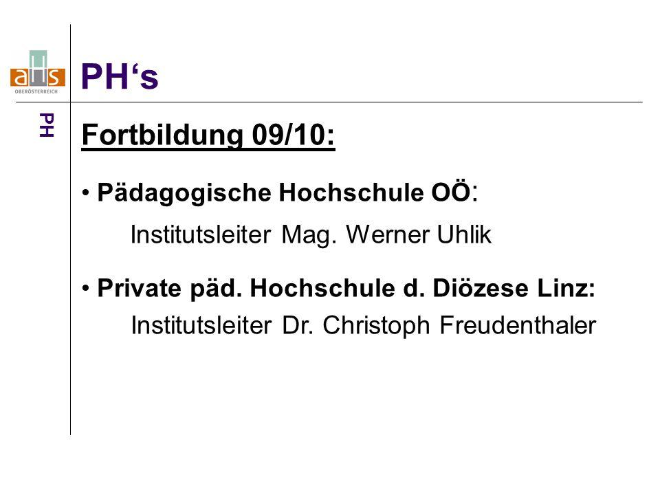 PH's PH Fortbildung 09/10: Pädagogische Hochschule OÖ : Institutsleiter Mag.