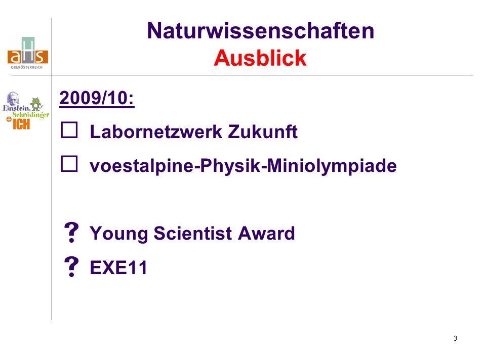 3 2009/10:  Labornetzwerk Zukunft  voestalpine-Physik-Miniolympiade  Young Scientist Award  EXE11 Naturwissenschaften Ausblick