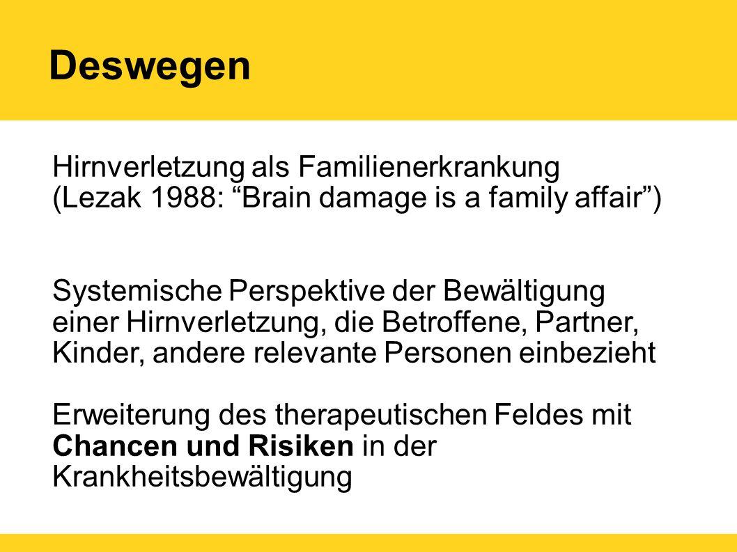 """Deswegen Hirnverletzung als Familienerkrankung (Lezak 1988: """"Brain damage is a family affair"""") Systemische Perspektive der Bewältigung einer Hirnverle"""