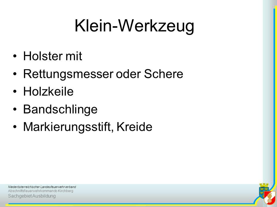 Niederösterreichischer Landesfeuerwehrverband Abschnittsfeuerwehrkommando Kirchberg Sachgebiet Ausbildung Klein-Werkzeug Holster mit Rettungsmesser od