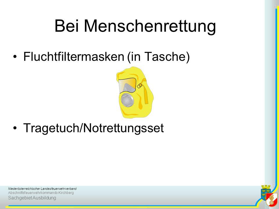 Niederösterreichischer Landesfeuerwehrverband Abschnittsfeuerwehrkommando Kirchberg Sachgebiet Ausbildung Bei Menschenrettung Fluchtfiltermasken (in T