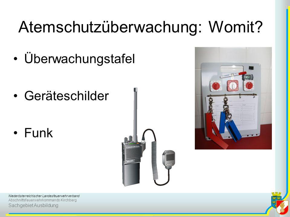 Niederösterreichischer Landesfeuerwehrverband Abschnittsfeuerwehrkommando Kirchberg Sachgebiet Ausbildung Atemschutzüberwachung: Womit? Überwachungsta
