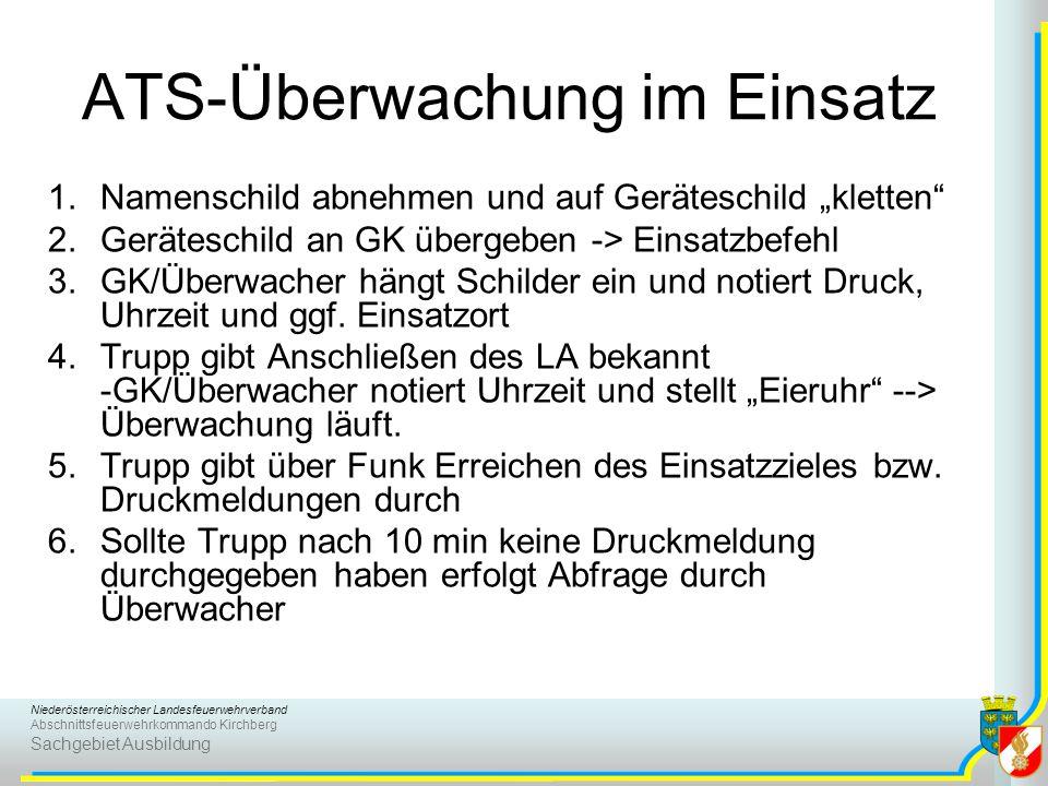 Niederösterreichischer Landesfeuerwehrverband Abschnittsfeuerwehrkommando Kirchberg Sachgebiet Ausbildung ATS-Überwachung im Einsatz 1.Namenschild abn