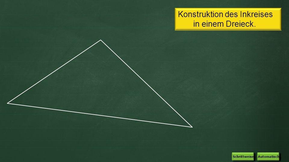 Konstruktion des Inkreises in einem Dreieck. Automatisch Schrittweise