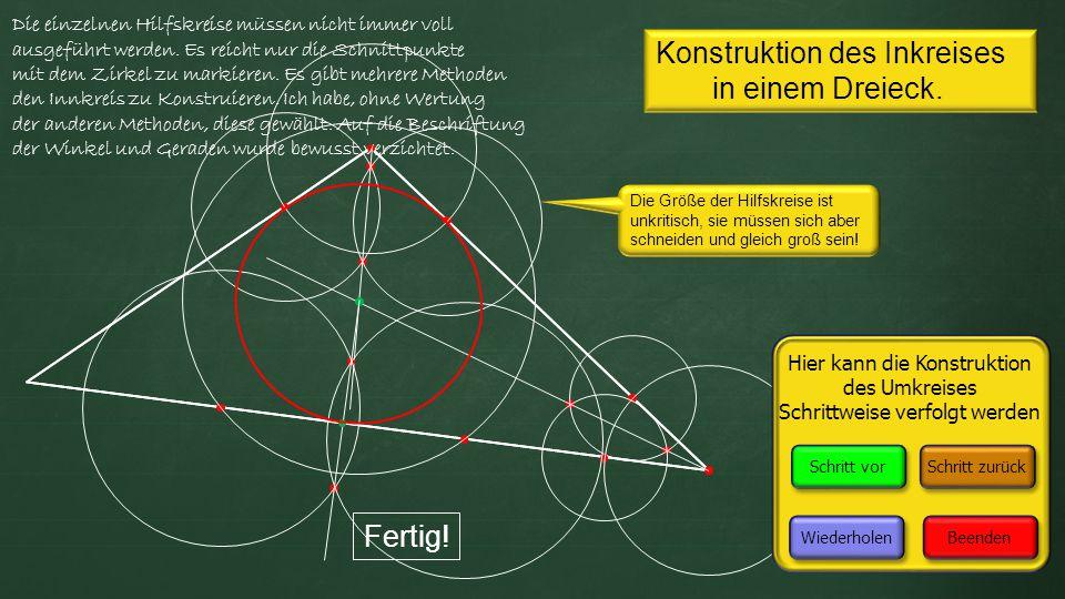 Konstruktion des Inkreises in einem Dreieck.Fertig.