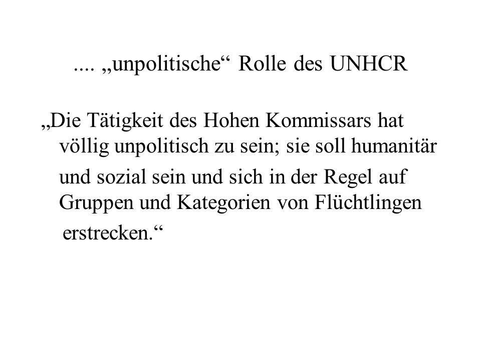 """.... """"unpolitische"""" Rolle des UNHCR """"Die Tätigkeit des Hohen Kommissars hat völlig unpolitisch zu sein; sie soll humanitär und sozial sein und sich in"""