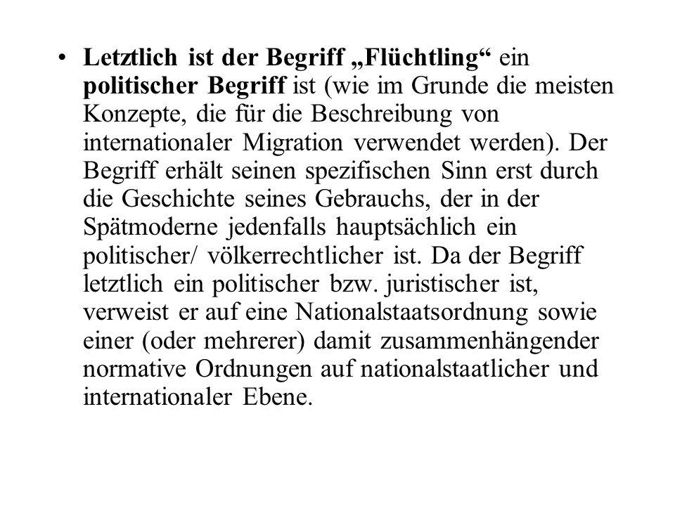 """Letztlich ist der Begriff """"Flüchtling"""" ein politischer Begriff ist (wie im Grunde die meisten Konzepte, die für die Beschreibung von internationaler M"""