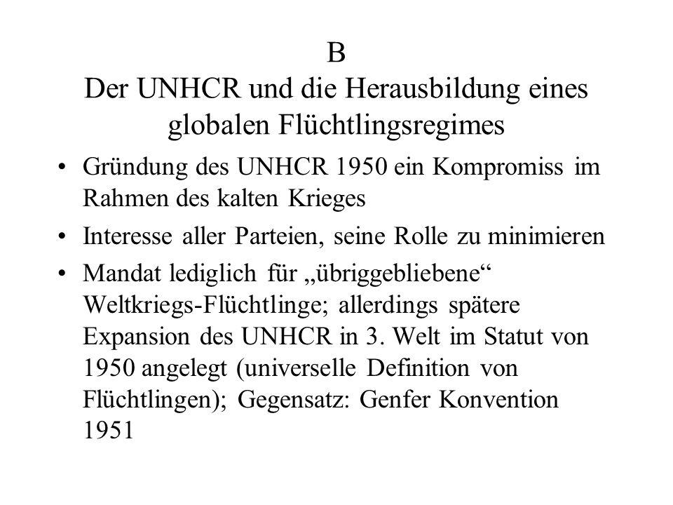 B Der UNHCR und die Herausbildung eines globalen Flüchtlingsregimes Gründung des UNHCR 1950 ein Kompromiss im Rahmen des kalten Krieges Interesse alle