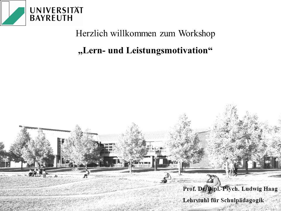 """Herzlich willkommen zum Workshop """"Lern- und Leistungsmotivation"""" Prof. Dr. Dipl.-Psych. Ludwig Haag Lehrstuhl für Schulpädagogik"""