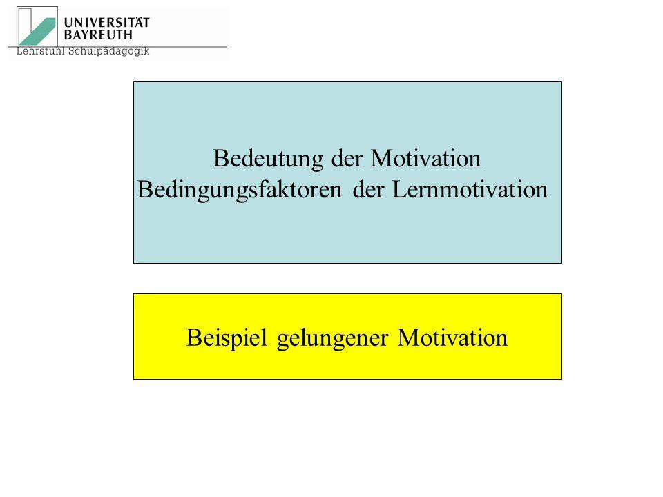 Bedeutung der Motivation Bedingungsfaktoren der Lernmotivation Beispiel gelungener Motivation