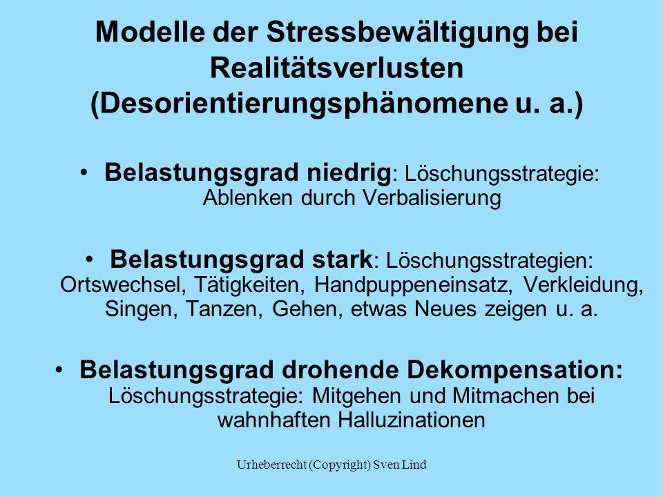 Modelle der Stressbewältigung bei Realitätsverlusten (Desorientierungsphänomene u.