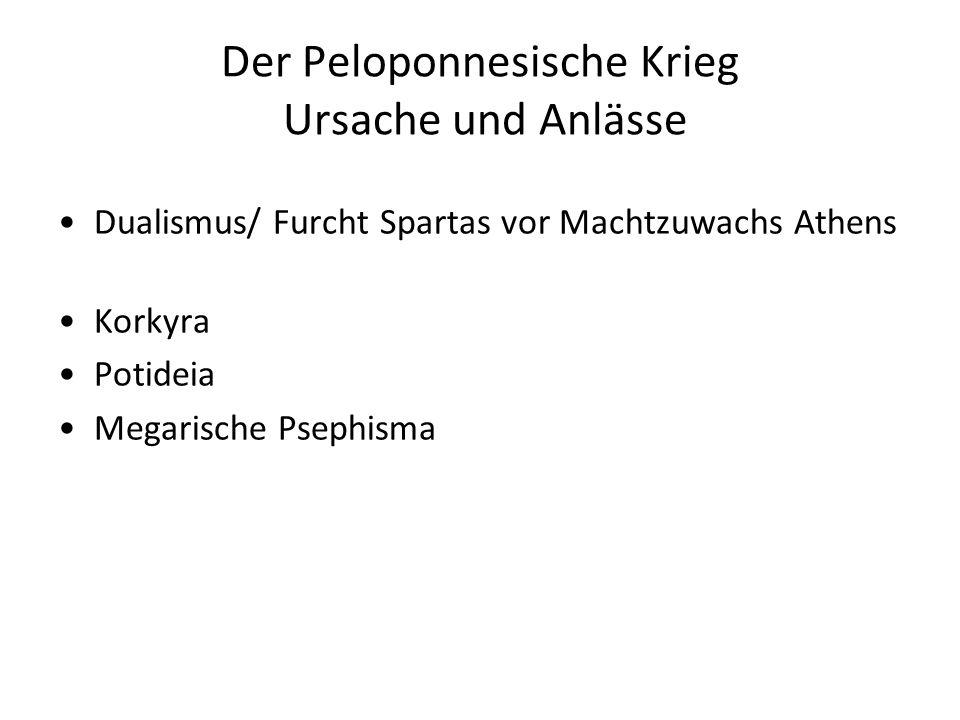 Der Peloponnesische Krieg Ursache und Anlässe Dualismus/ Furcht Spartas vor Machtzuwachs Athens Korkyra Potideia Megarische Psephisma