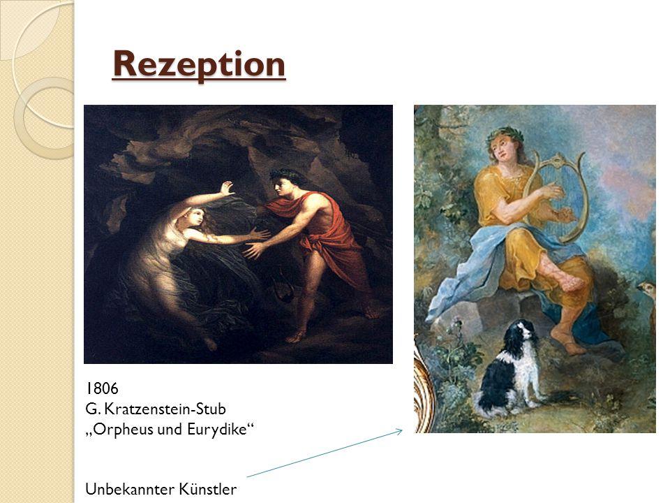 Nachwirkungen des Mythos Heute: große Fülle an Texten, Gemälden und Musik zur Verfügung, die den Mythos Orpheus aufgreift Berühmte Dichter, Künstler und Komponisten setzen sich mit der Sage auseinander Versuche eine Moral aus der Geschichte zu ziehen: Orpheus als warnendes Beispiel für einen Menschen, der zu sehr der fleischlichen Lust verfallen ist