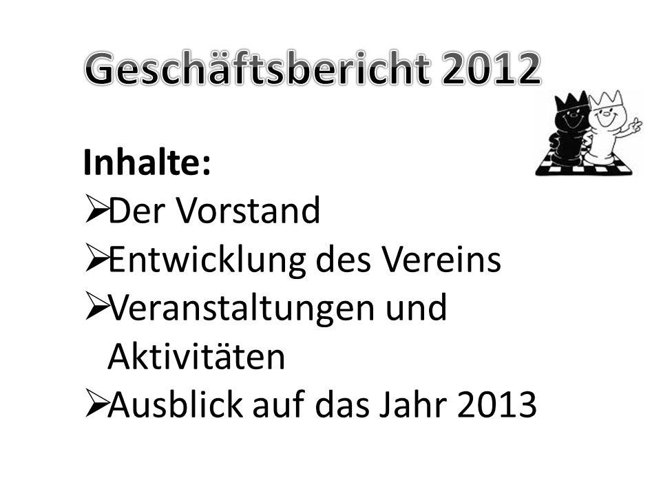 Inhalte:  Der Vorstand  Entwicklung des Vereins  Veranstaltungen und Aktivitäten  Ausblick auf das Jahr 2013