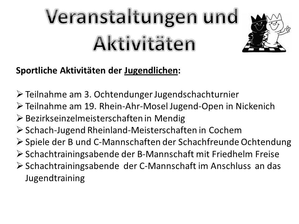 Termine für 2013:  16.03.2013 4.Ochtendunger Jugendschachturnier  22.