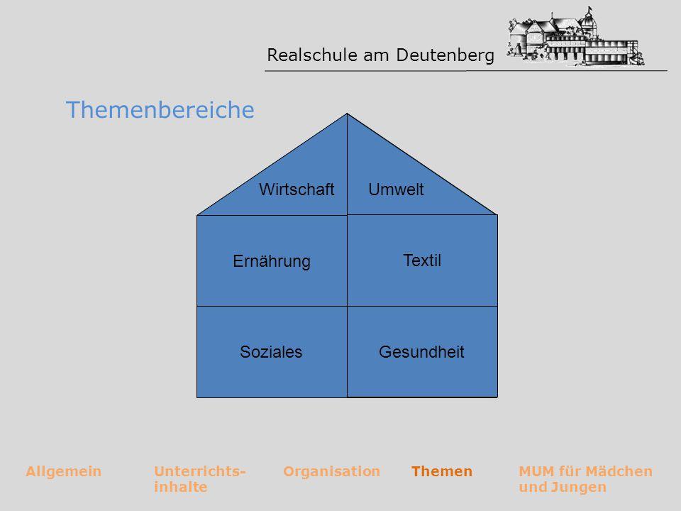 Realschule am Deutenberg AllgemeinUnterrichts- inhalte OrganisationThemenMUM für Mädchen und Jungen Umwelt Ernährung Gesundheit Soziales Wirtschaft Te