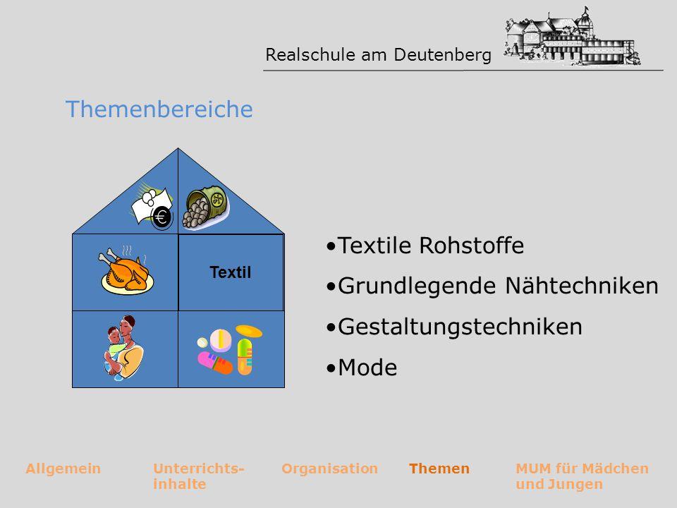 Realschule am Deutenberg AllgemeinUnterrichts- inhalte OrganisationThemenMUM für Mädchen und Jungen Themenbereiche Gesundheit Mikroorganismen in Lebensmitteln ernährungsabhängige Krankheiten Lebensmittel im Trend