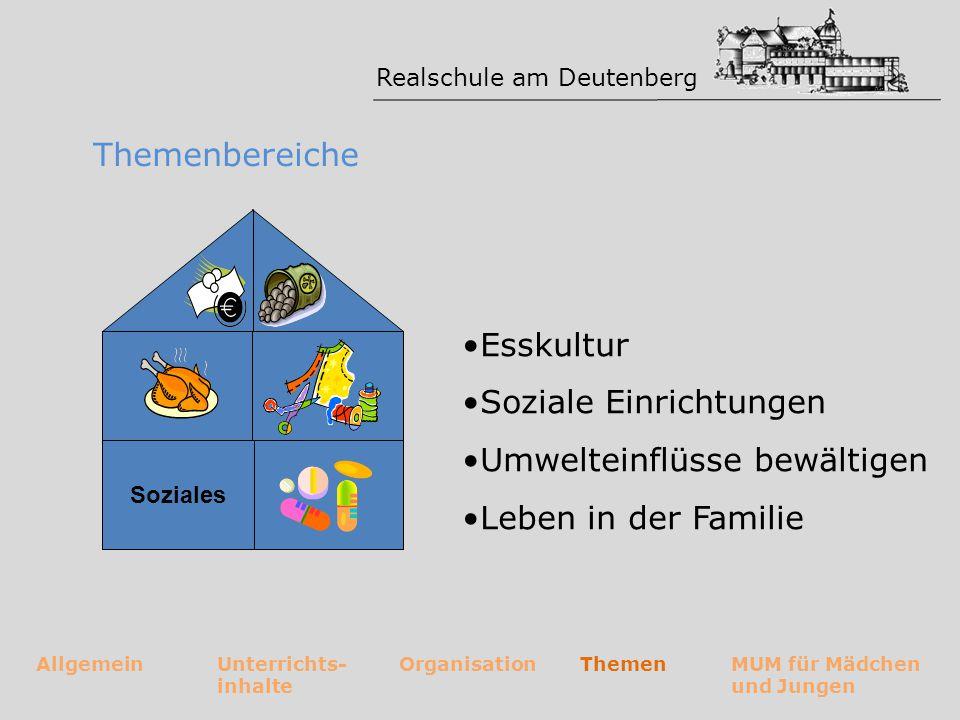 Realschule am Deutenberg AllgemeinUnterrichts- inhalte OrganisationThemenMUM für Mädchen und Jungen Themenbereiche Grundlagen der Ernährungslehre Nahrungszubereitung Alternative Ernährungsformen Ernährung