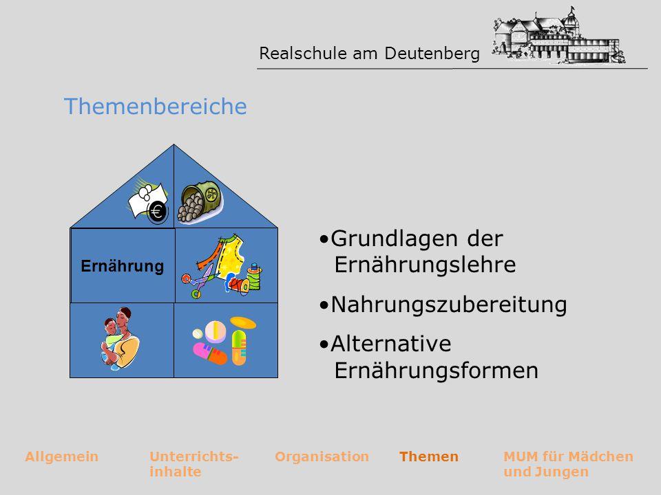 Realschule am Deutenberg AllgemeinUnterrichts- inhalte OrganisationThemenMUM für Mädchen und Jungen Themenbereiche Grundlagen der Ernährungslehre Nahr
