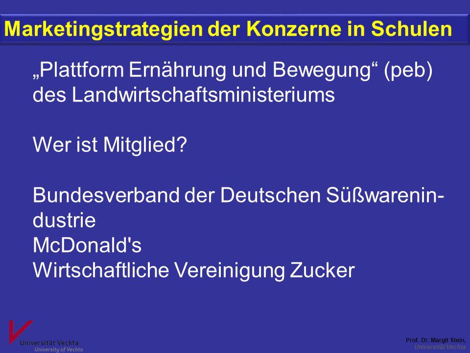 """Prof. Dr. Margit Stein, Universität Vechta Marketingstrategien der Konzerne in Schulen """"Plattform Ernährung und Bewegung"""" (peb) des Landwirtschaftsmin"""