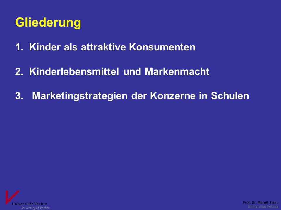 Prof. Dr. Margit Stein, Universität Vechta Gliederung 1.Kinder als attraktive Konsumenten 2.Kinderlebensmittel und Markenmacht 3. Marketingstrategien