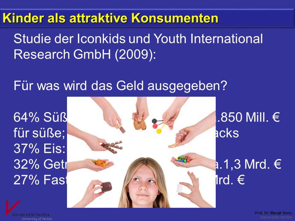 Prof. Dr. Margit Stein, Universität Vechta Studie der Iconkids und Youth International Research GmbH (2009): Für was wird das Geld ausgegeben? 64% Süß