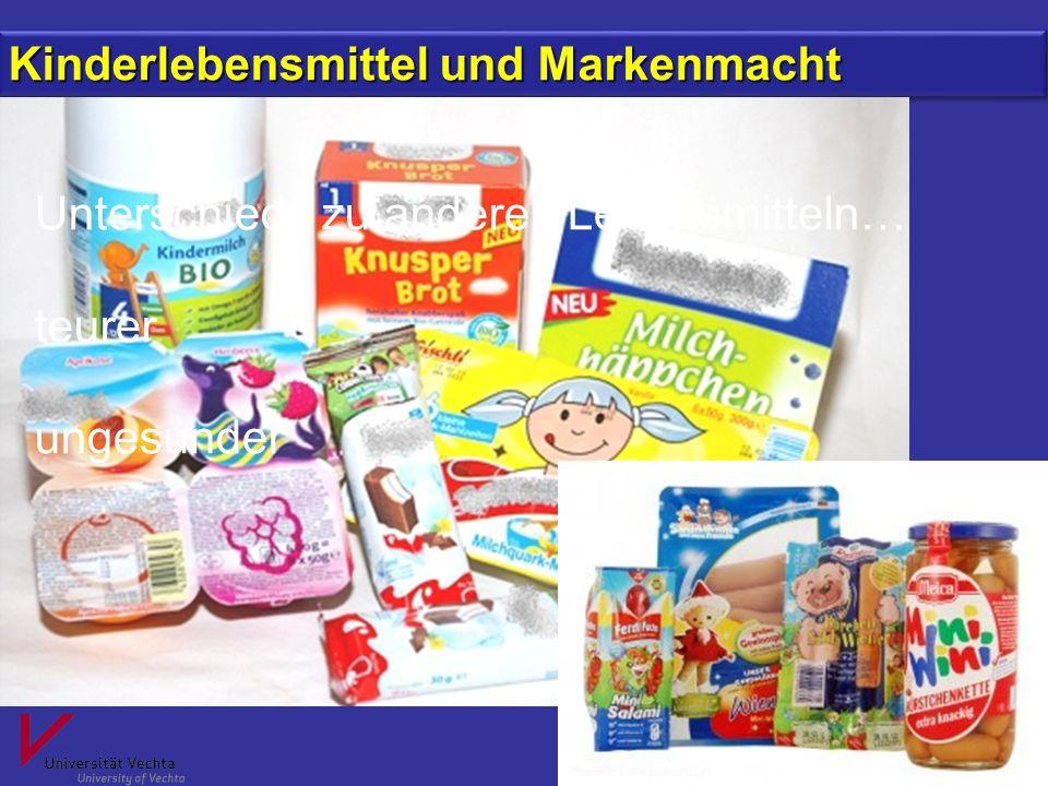 Prof. Dr. Margit Stein, Universität Vechta Kinderlebensmittel und Markenmacht Unterschiede zu anderen Lebensmitteln… teurer ungesünder