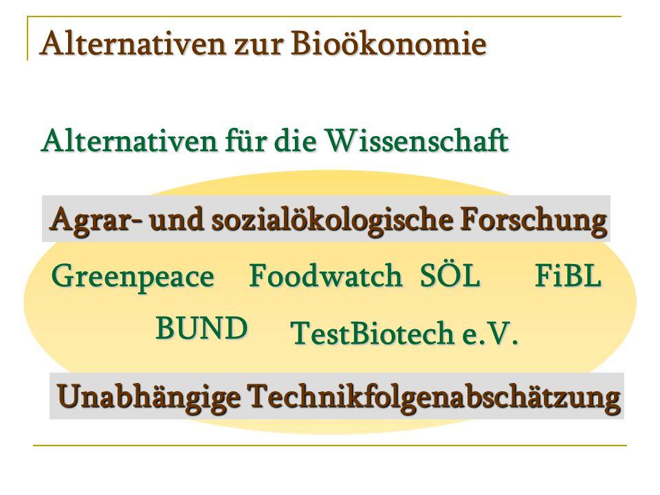 Alternativen zur Bioökonomie Alternativen für die Wissenschaft Agrar- und sozialökologische Forschung SÖLFiBL Unabhängige Technikfolgenabschätzung BUND Greenpeace TestBiotech e.V.