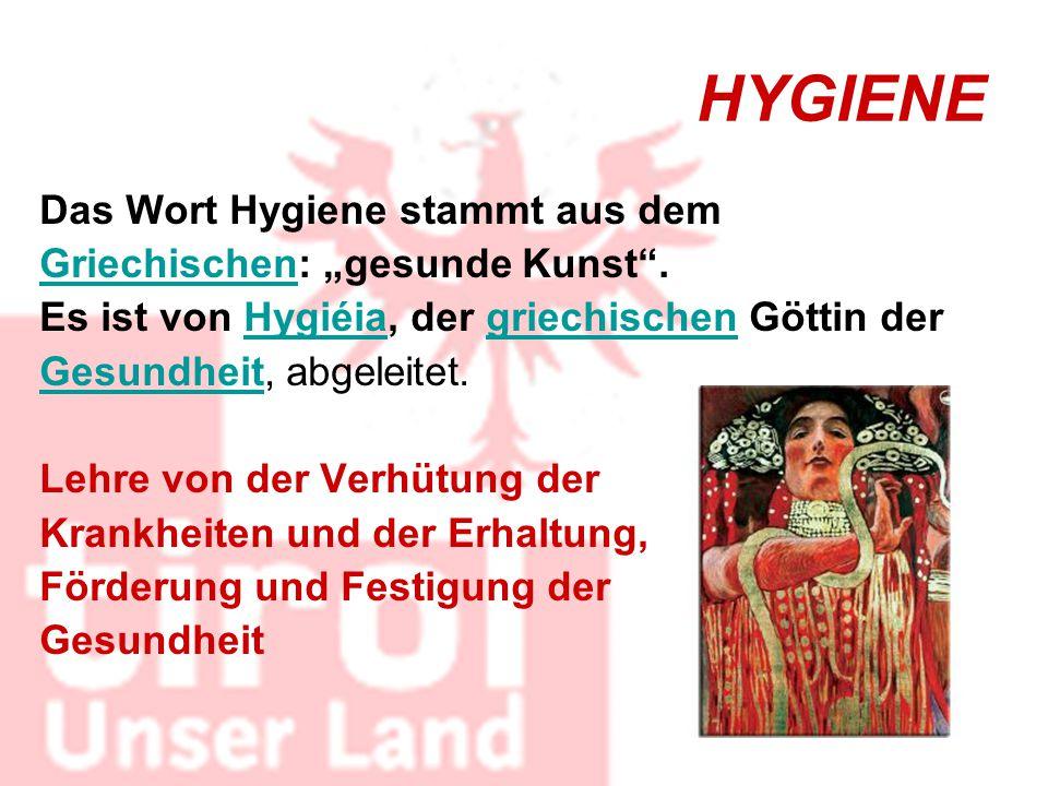 """HYGIENE Das Wort Hygiene stammt aus dem GriechischenGriechischen: """"gesunde Kunst"""". Es ist von Hygiéia, der griechischen Göttin derHygiéiagriechischen"""