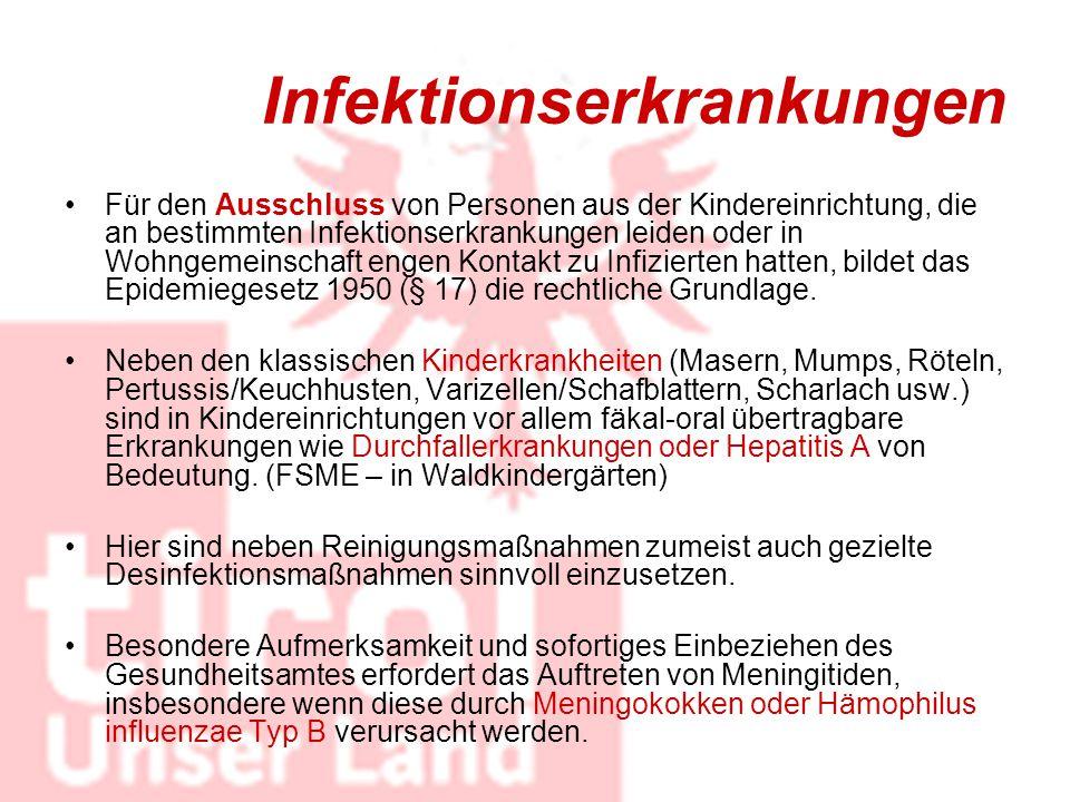 Infektionserkrankungen Für den Ausschluss von Personen aus der Kindereinrichtung, die an bestimmten Infektionserkrankungen leiden oder in Wohngemeinsc