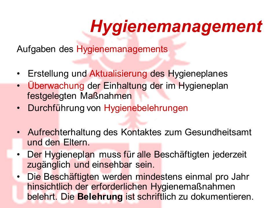 Hygienemanagement Aufgaben des Hygienemanagements Erstellung und Aktualisierung des Hygieneplanes Überwachung der Einhaltung der im Hygieneplan festge