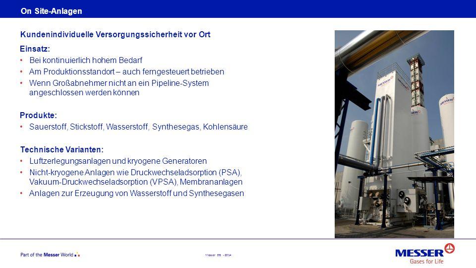 Messer 36 - 2014 On Site-Anlagen Einsatz: Bei kontinuierlich hohem Bedarf Am Produktionsstandort – auch ferngesteuert betrieben Wenn Großabnehmer nich