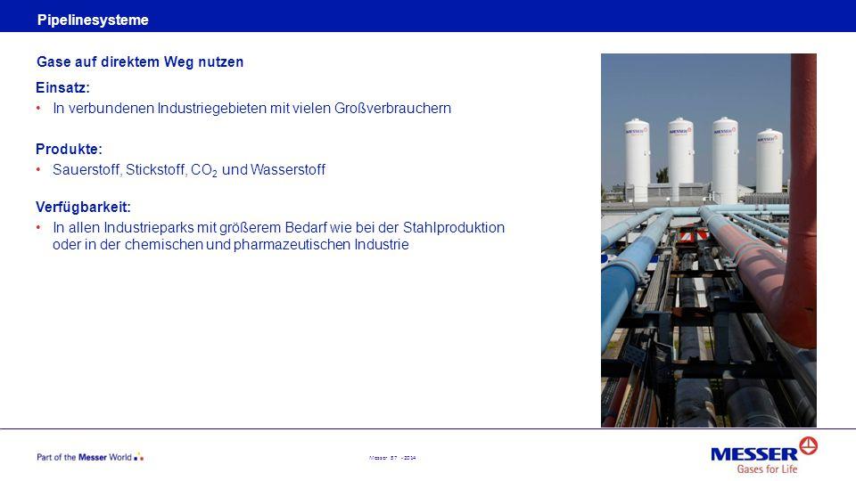 Messer 37 - 2014 Pipelinesysteme Einsatz: In verbundenen Industriegebieten mit vielen Großverbrauchern Produkte: Sauerstoff, Stickstoff, CO 2 und Wass