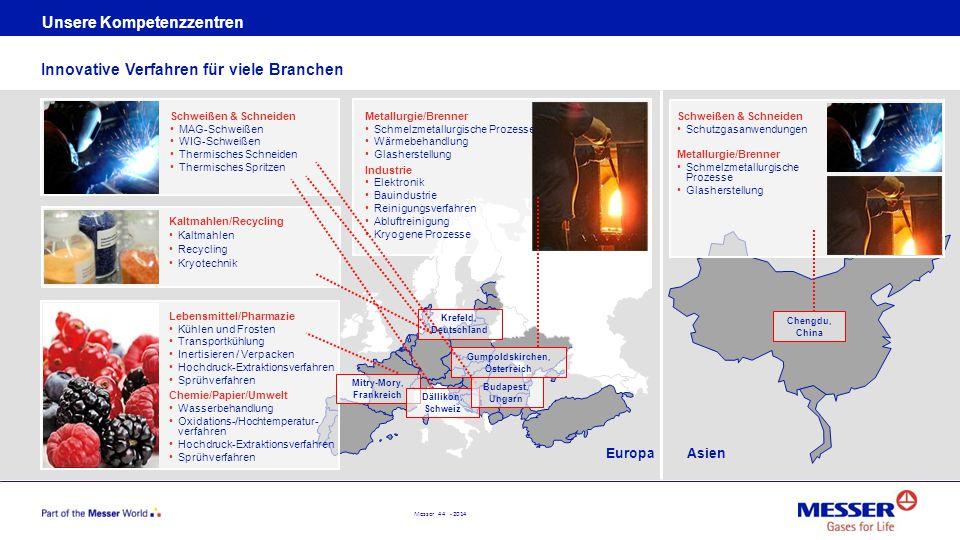 Messer 44 - 2014 AsienEuropa Unsere Kompetenzzentren Innovative Verfahren für viele Branchen Lebensmittel/Pharmazie Kühlen und Frosten Transportkühlun