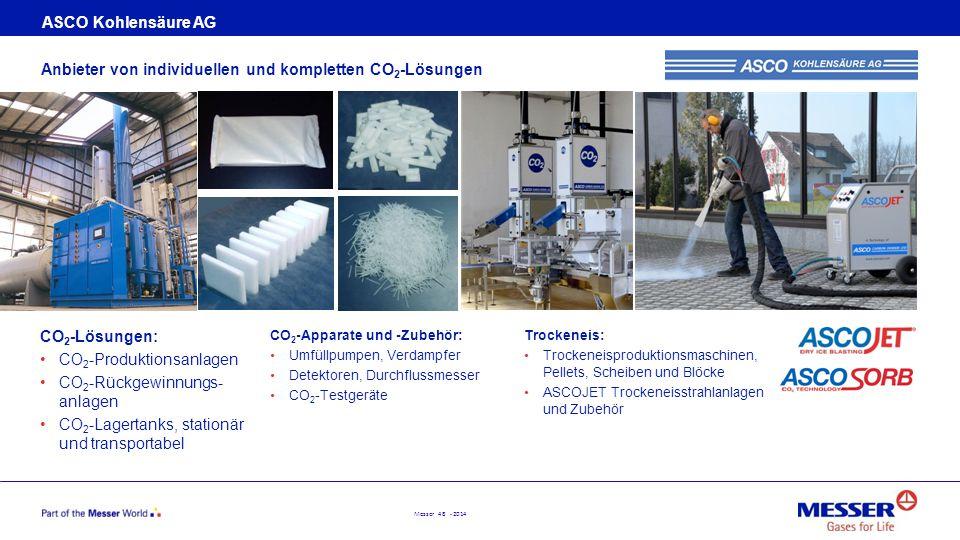 Messer 48 - 2014 ASCO Kohlensäure AG Anbieter von individuellen und kompletten CO 2 -Lösungen CO 2 -Apparate und -Zubehör: Umfüllpumpen, Verdampfer De