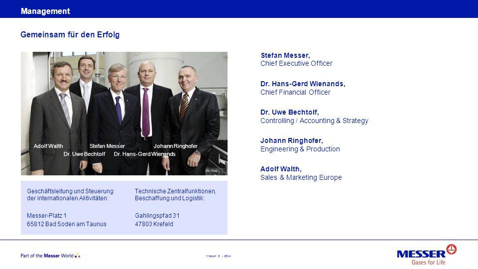 Messer 5 - 2014 Management Gemeinsam für den Erfolg Geschäftsleitung und Steuerung der internationalen Aktivitäten: Messer-Platz 1 65812 Bad Soden am