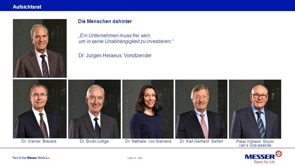Messer 6 - 2014 Aufsichtsrat Dr. Werner Breuers Die Menschen dahinter Dr. Bodo LüttgeDr. Nathalie von SiemensDr. Karl-Gerhard Seifert Peter Wilhelm St