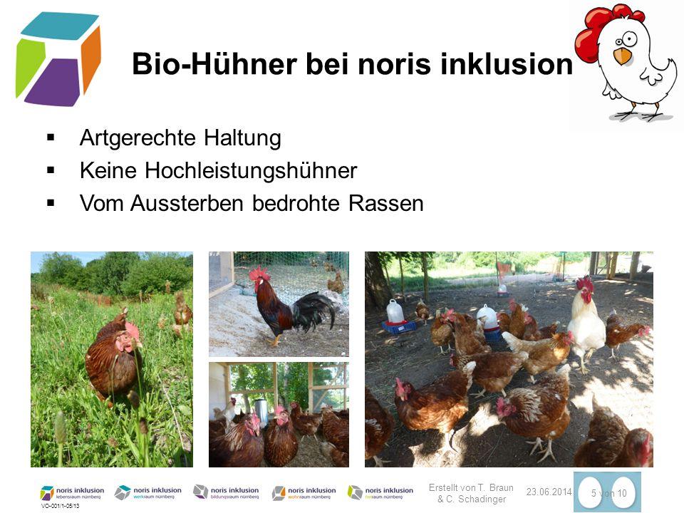 VO-001/1-05/13 23.06.2014 5 von 10 Bio-Hühner bei noris inklusion  Artgerechte Haltung  Keine Hochleistungshühner  Vom Aussterben bedrohte Rassen E