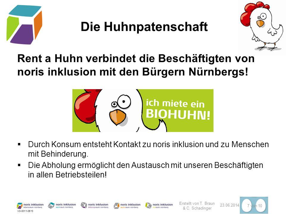 VO-001/1-05/13 23.06.2014 7 von 10 Die Huhnpatenschaft Rent a Huhn verbindet die Beschäftigten von noris inklusion mit den Bürgern Nürnbergs!  Durch