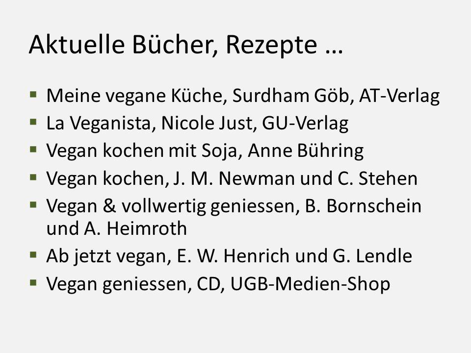 Aktuelle Bücher, Rezepte …  Meine vegane Küche, Surdham Göb, AT-Verlag  La Veganista, Nicole Just, GU-Verlag  Vegan kochen mit Soja, Anne Bühring 