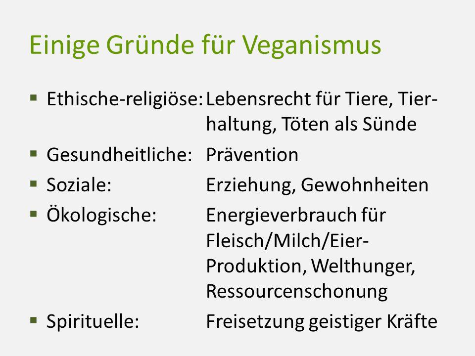 Einige Gründe für Veganismus  Ethische-religiöse:Lebensrecht für Tiere, Tier- haltung, Töten als Sünde  Gesundheitliche:Prävention  Soziale:Erziehu