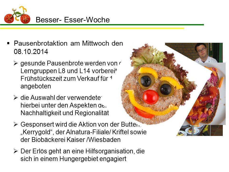 Besser- Esser-Woche  Pausenbrotaktion am Mittwoch den 08.10.2014  gesunde Pausenbrote werden von den Lerngruppen L8 und L14 vorbereitet und in der F