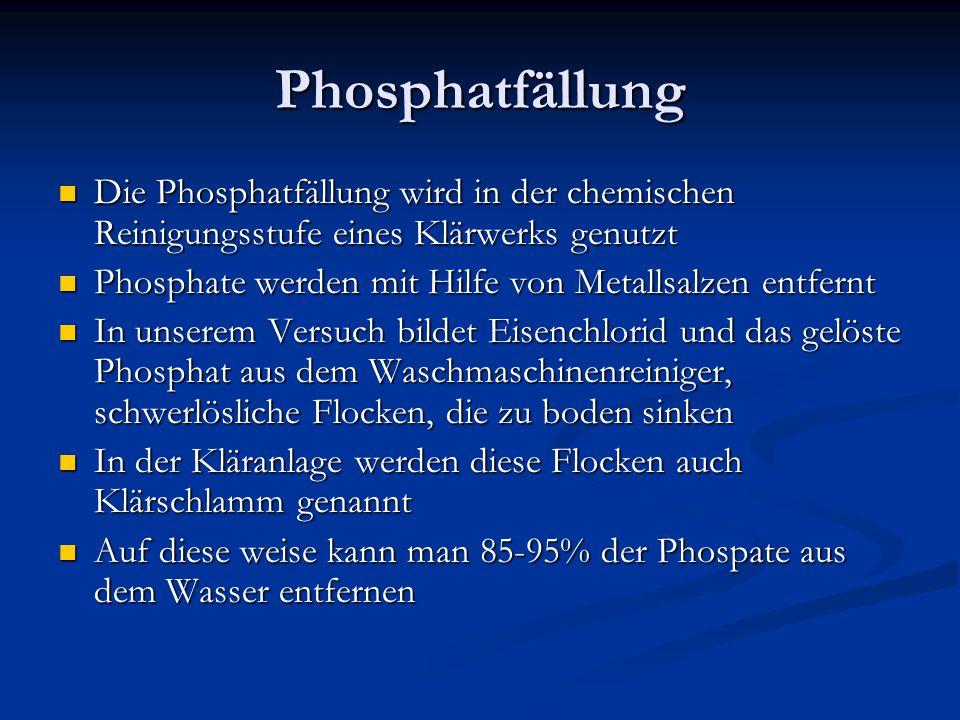 Phosphatfällung Die Phosphatfällung wird in der chemischen Reinigungsstufe eines Klärwerks genutzt Die Phosphatfällung wird in der chemischen Reinigun